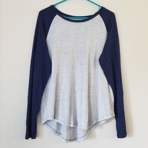 Long sleeve blue and gray tshirt